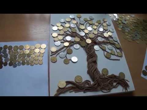 Как сделать денежное дерево из монет своими руками как картина