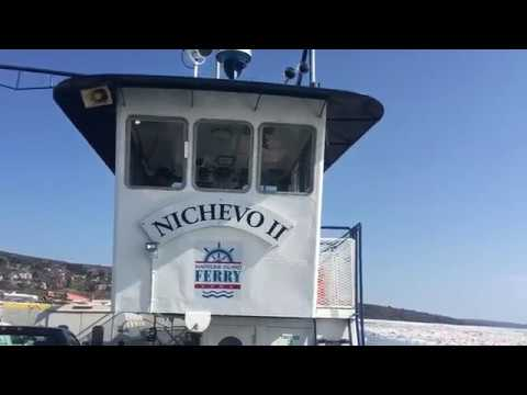 Madeline Island Ferry Crossing Through the Ice Pack