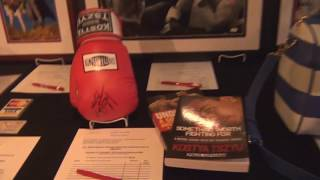 Kostya Tszyu signed boxing glove and book at Boxing Writers of America dinner, New York, USA. (BWAA)