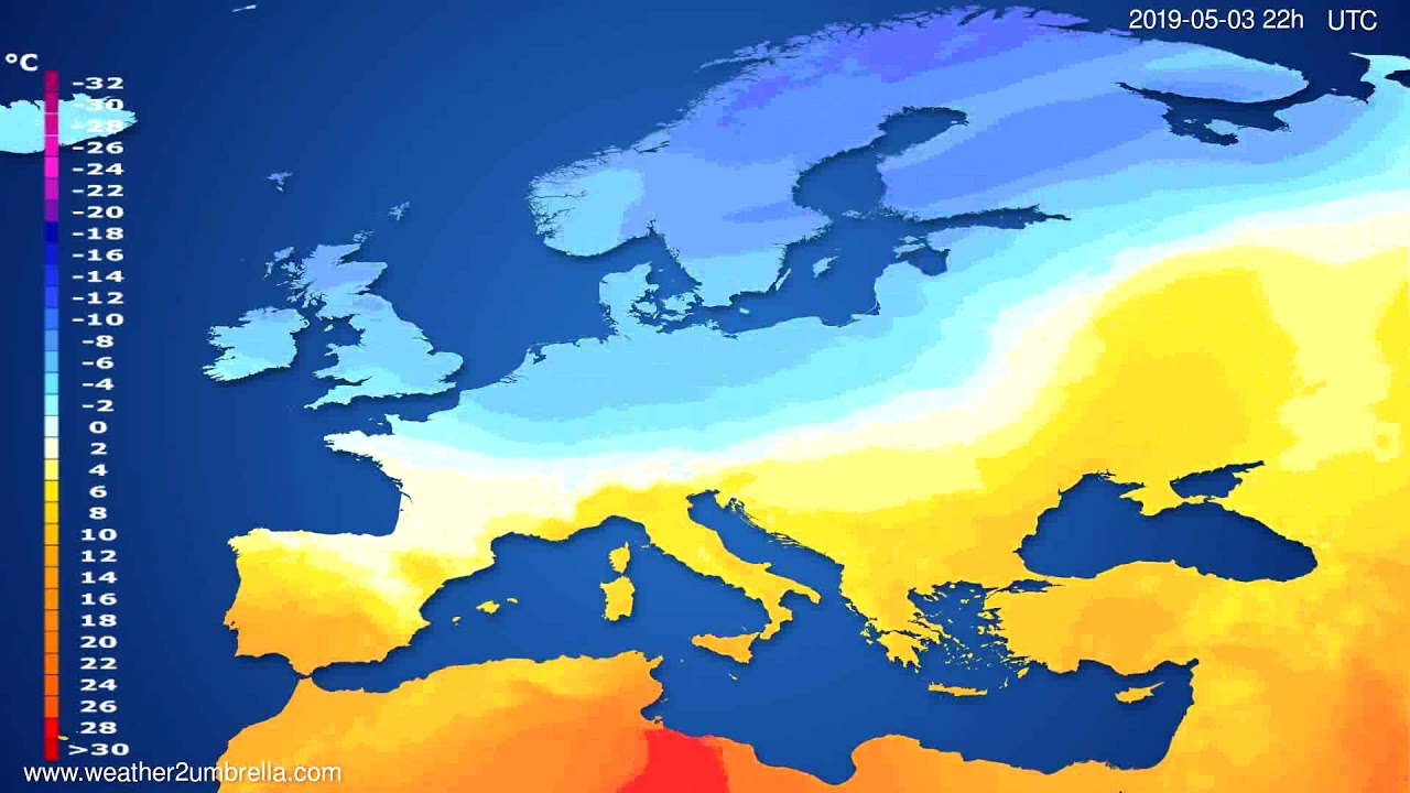 Temperature forecast Europe // modelrun: 12h UTC 2019-04-30