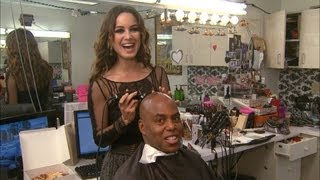 Kevin Gets a Shave from Bond Girl Berenice