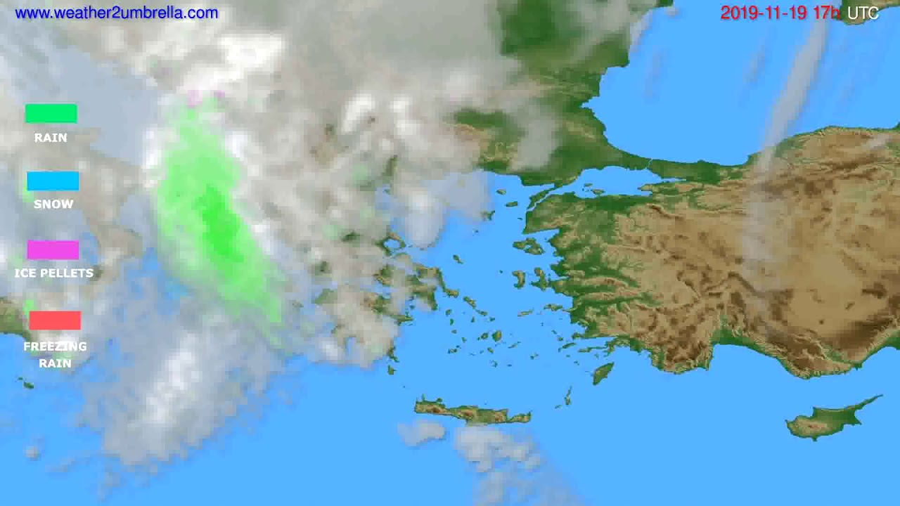 Precipitation forecast Greece // modelrun: 00h UTC 2019-11-18