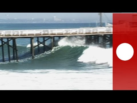 California - Surfers in southern California took advantage of unusually large surf in Newport Beach on August 27, where a huge swell from Hurricane Marie was expected to generate waves as big as 25 feet....