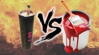 The pot of red paint VS big petard