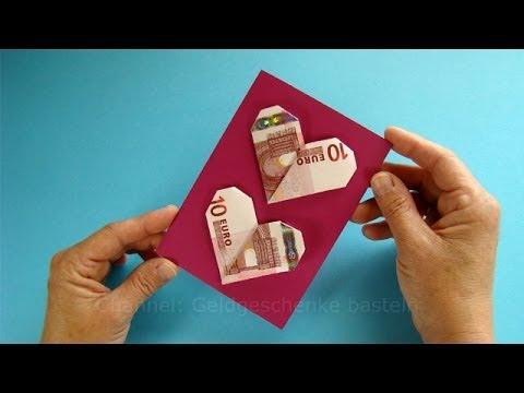 Geldgeschenke verpacken: Geldscheine falten Herz   lustig witzig ...