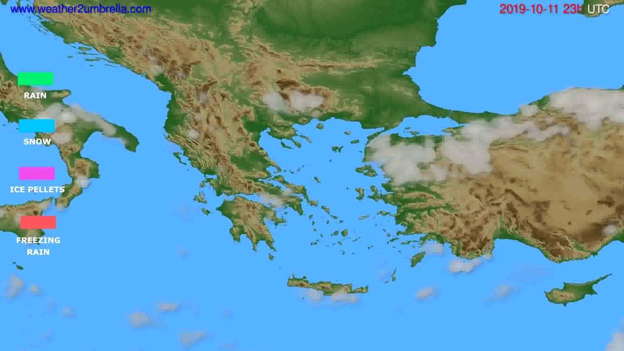 Precipitation forecast Greece // modelrun: 12h UTC 2019-10-08