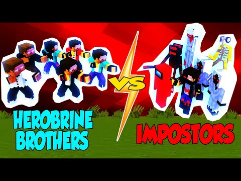 HEROBRINE BROTHERS VS IMPOSTORS (KRM,XDJAMES,MONSHIIEE,MECHANICZ,MONSTER CRAFTERS) - MONSTER SCHOOL