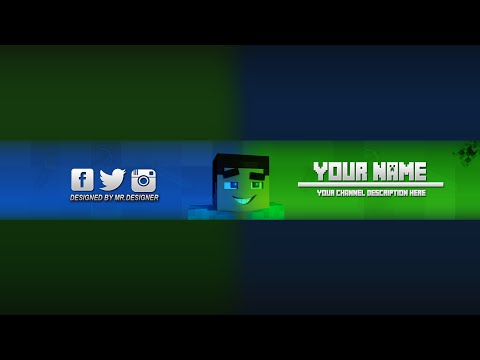 Photoshop minecraft banner channel art template download psd 4
