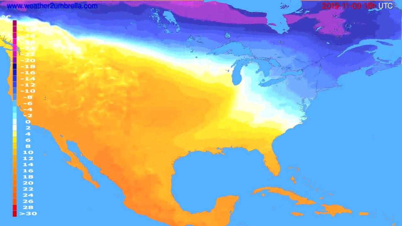 Temperature forecast USA & Canada // modelrun: 12h UTC 2019-11-08