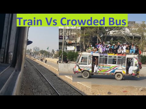 Rehman Baba Express Entering Karachi City Area || Crowded Bus Vs Train || Landhi To Drigh Road