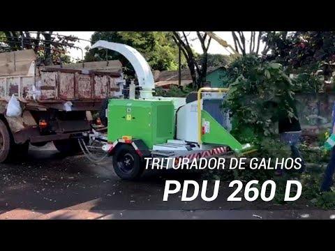 Triturador de galhos - funcionamento na limpeza urbana Lippel PDU 260 D