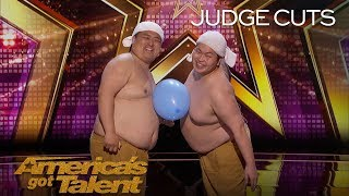 Video Yumbo Dump: Shirtless Duo Creates Hilarious Sounds With Bellies - America's Got Talent 2018 MP3, 3GP, MP4, WEBM, AVI, FLV Desember 2018