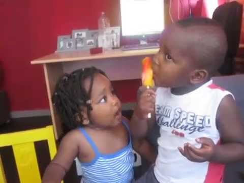 funny kids eating an ice cream