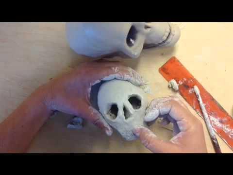 dia de los muertos clay skull