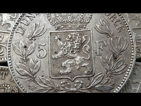 Old Coin Value Worth Price: 5 FRANCS 1869 silver coin#BELGIUM COIN. コイン
