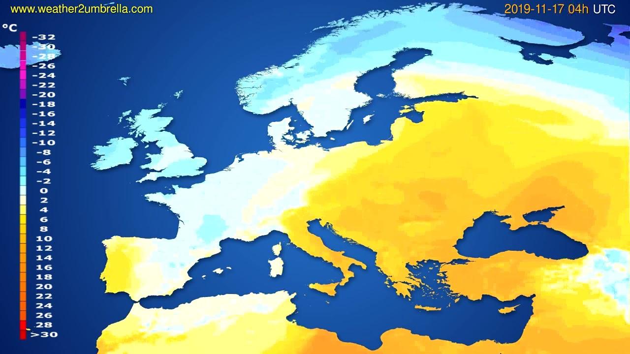 Temperature forecast Europe // modelrun: 00h UTC 2019-11-16