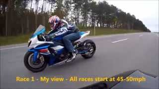 10. 2011 ZX10r vs 2012 GSXR 1000 - Highway Pulls