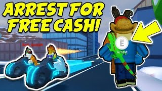 ARREST ME FOR FREE CASH!! Volt Bike Race and Train Robbing! (Roblox Jailbreak New Winter Update)