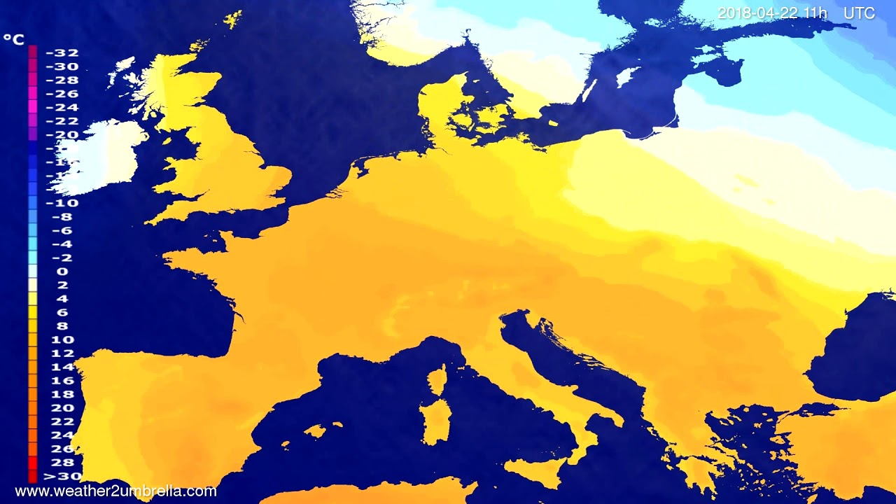 Temperature forecast Europe 2018-04-18