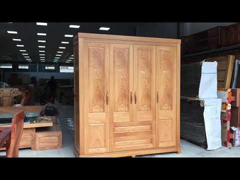Tủ áo gỗ Gõ Đỏ 4 cánh - 1m93 đẹp