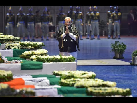 PM Modi Pays Tribute to Mortal Remains of Martyrs at Delhi Airport