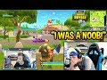 NINJA REACTS TO HIS *FIRST* EVER GAME OF FORTNITE! NOOB? Fortnite SAVAGE n FUNNY Moments