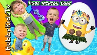 More movie Minion TOYS! Swimming pool and summer fun + real Minion comes and plays with us! This idea created by HobbyKidsTV. Subscribe for NEW Shows: http://www.youtube.com/subscription_center?add_user=HobbyKidsTV ---TOY VIDEOS---Family Video Gaming Fun: https://www.youtube.com/playlist?list=PLzDMAGLsSlZrhbIdcXn1B5qLtd_6D9407World's Biggest Surprise Eggs: https://www.youtube.com/playlist?list=PLzDMAGLsSlZoNvpGg-ijs4DlYu2RMSOxoGames and Challenges: https://www.youtube.com/playlist?list=PLzDMAGLsSlZqo_IVVsyn7Sn0yFehplgK1Best Family Fun Shows: https://www.youtube.com/playlist?list=PLzDMAGLsSlZpBsqsE4zkBbucAsQ0bgiWdLearning Playlist:http://www.youtube.com/playlist?list=PLzDMAGLsSlZo8aAHrPRzVmM_oW_hZtxdO---OUR OTHER HOBBY CHANNELS---HobbyFamilyTV (Vlog and Extras): http://www.youtube.com/user/hobbykidsvidsHobbyPigTV (Video Gaming):http://www.youtube.com/user/hobbygamestvHobbyFrogTV (Video Gaming):http://www.youtube.com/user/hobbytrixieHobbyBearTV (Toys, Video Games, more):http://www.youtube.com/user/hobbykidsland---FIND US---http://www.Twitter.com/HobbyKidsTVhttps://www.facebook.com/HobbyKidsTV/http://www.HobbyKidsTV.comhttps://www.instagram.com/hobbykidstv/---ABOUT HobbyKidsTV---HobbyKidsTV is the #1 place for kids to watch family-friendly clean shows! Video gaming and giant surprise egg adventures. We are world renowned for being the first and original inventor of all GIANT SURPRISE EGGS! It was our sons unique idea in 2013 to make a wonderful GIANT surprise egg for all our fans. We are the leader in kids creative ideas, skits and science fun. Subscribe to HobbyKidsTV, the trusted brand of families across the globe. We produce the best and most fun kids toy and gaming shows. Collector of the best toys to teach kids imaginative play through games or adventures. HobbyKids love sharing fun educational learning and popular play. Be a HobbyFan today and subscribe for free to see new edutainment shows!---MUSIC BY---Epidemic SoundIbiza Pop Beat 4Punch Out 1Punch Out 2Hawaiia