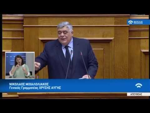 Ν.Μιχαλολιάκος( Γ.Γραμματέας ΧΡΥΣΗΣ ΑΥΓΗΣ) (Ψήφος εμπιστοσύνης στην Κυβέρνηση)(15/01/2019)