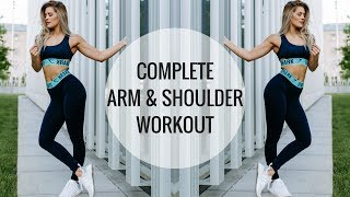 Complete shoulder, bicep and tricep workout for the ultimate upper body workout! Resistance bands I use: http://amzn.to/2tJST65Follow yo girl for... Daily Fit Tips With Whit:♡ Instagram https://www.instagram.com/whitneyysimmons/?hl=en♡ Snapchat: whitneyysimmons♡ Twitter: https://twitter.com/whitneyysimmons?lang=enOutfit: GymsharkShoes: Adidas NMD——————————————————————————Commonly Asked Q's:My skincare  use code 'WHITNEY' for 20% off and free shipping https://www.TULA.com/WHITNEYBedspread: Home GoodsOcean Blanket: Society 6My necklace: http://rstyle.me/~a1jUaMy Watch: Apple WatchPhone case: http://amzn.to/2sFHgIlWhat's on my phone? http://amzn.to/2tCalcwWireless Headphones I use: http://amzn.to/2if2mNyCamera I use: http://amzn.to/2gBHBZMVlogging Camera I use (and in the gym): http://amzn.to/2jxrTgW——————————————————————————SUPPLEMENTS I USE:♡ PEScience High Volume pre-workout http://amzn.to/2cfMLu3♡ Xtend BCAA's http://amzn.to/2cDDCsJ♡ Plant Based Protein I recommend: http://amzn.to/2rHS8oM——————————————————————————THE WORKOUT:resistance band circuit  find bands here: http://amzn.to/2tJST6510 squat to front raise10 tricep extensions10 left lateral raise10 right lateral raise10 rear delt overhand pullsrepeat circuit 2 times4 sets of 10underhand barbell front raise to bicep curlsuperset  3 sets8 single arm incline dumbbell skull-crushers each arm12 bicep plate curls3 sets of 10 cable underhand front raise to bicep curl2 sets of 20overhead cable tricep extension using the rope attachment