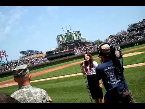 Kayla Brown sings God Bless America/the National Anthem at Wrigley 7/17/2011