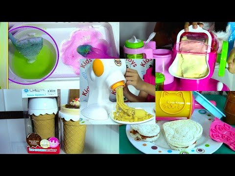 Ice Cream Maker, Sandwich, Pasta Maker and Popin Cookin Compilation - Kids' Toys (видео)