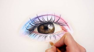 In this tutorial I show you how to draw a realistic colorful eye and which materials, colors I use.DRAWING MATERIALS:Canson pastel paper: https://goo.gl/yqVcdPCaran d'ache luminance: https://goo.gl/1I7CfpFaber-Castell polychromos: https://goo.gl/OPOsUAEraser Pencil perfection 7056: https://goo.gl/VUxGfUWhite uni posca marker: https://goo.gl/yG4McTList of Colors:Polychromos: dark indigo, walnut brownLuminance: white, buff titanium, perylene brown, light aubergine, ultramarin pink, anthraquinoid pink, ultramarine violet, burnt sienna 50%, burnt sienna 10%, middle cobalt blue, light blue, light cobalt blue, burnt ochre 10%, raw umber 10%, raw umber 50%, raw umber, brown ochre, burnt ochre, sepia, blackColor charts:http://bit.ly/FaberCastell_Polychromoshttp://bit.ly/Carandache_Luminancehttp://bit.ly/Prismacolor_Premierhttp://bit.ly/Carandache_Pablo❯ Subscribe here! http://bit.ly/EmmyKaliaWHAT I USE TO FILM:Tripod: https://goo.gl/0MttWuCamera: https://goo.gl/3o6a4oLights: https://goo.gl/IaMg4v❯ More about me:• FAQ:  http://emmykalia.com/faq• Support: https://patreon.com/emmykalia• Shop: https://www.etsy.com/shop/emmykalia• Facebook: https://www.facebook.com/emmykalia• Instagram: https://instagram.com/emmykaliaMusic: Summer Sidewalk by Audionautix is licensed under a Creative Commons Attribution license (https://creativecommons.org/licenses/by/4.0/)Artist: http://audionautix.com/Nice And Easy by Audionautix is licensed under a Creative Commons Attribution license (https://creativecommons.org/licenses/by/4.0/)Artist: http://audionautix.com/