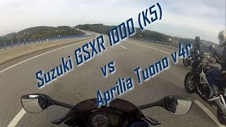 4. Suzuki GSXR 1000 (K5) vs Aprilia Tuono v4r and BMW S1000rr - Street Race, Top Speed