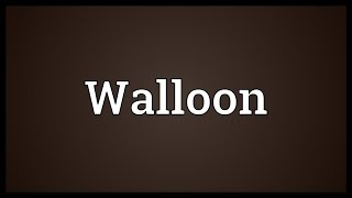 Video shows what Walloon means. The Romance language commonly spoken until the middle of the 20th century in parts of southern Belgium and northern ...