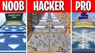 This NOOB vs PRO vs HACKER Deathrun is FUN... (Fortnite Creative)