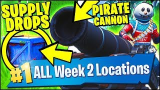 DEAL DAMAGE TO OPPONENTS WITH A PIRATE CANNON, DESCENDING SUPPLY DROPS (Fortnite Season 8 Week 2)