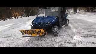 7. 2007 Yamaha Rhino 660 Plow Setup, Plowing snow with a rhino, UTV plowing snow