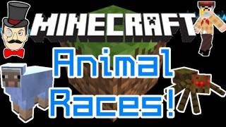 Minecraft Mods - ANIMAL RACES ! Ride Cows, Sheep&Spiders - ANIMAL BIKES Mod&SMP !