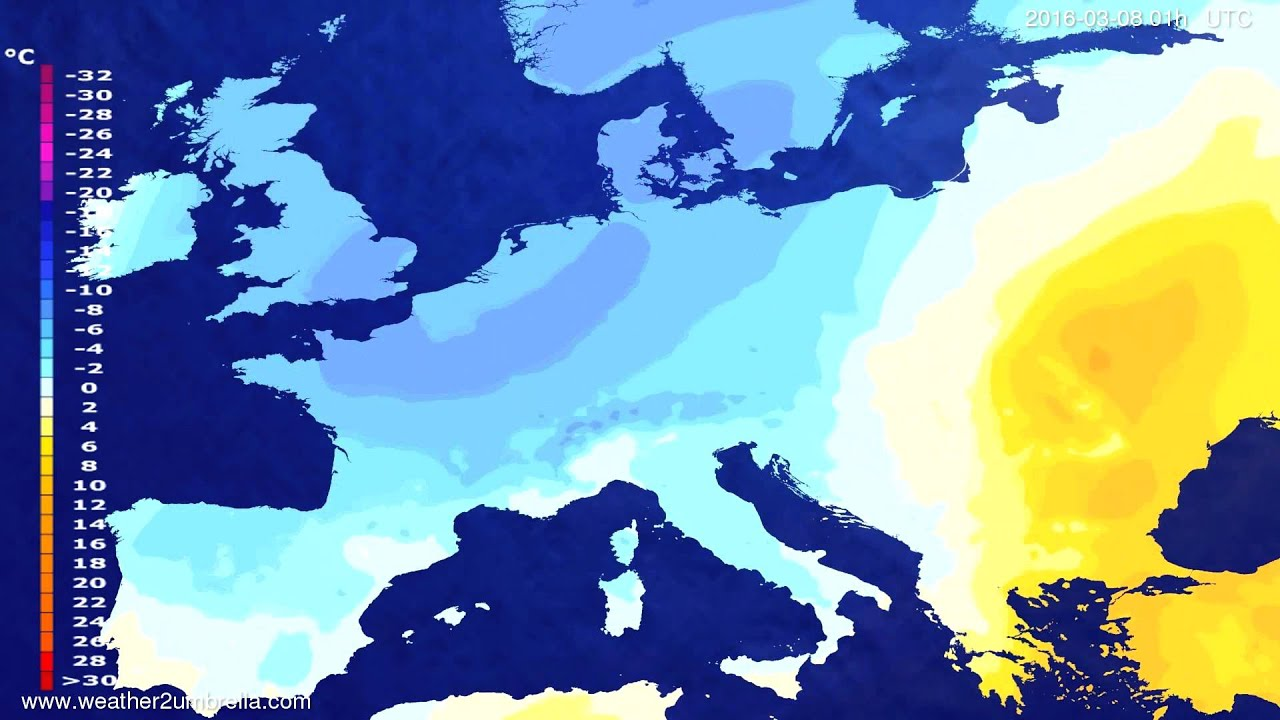Temperature forecast Europe 2016-03-04