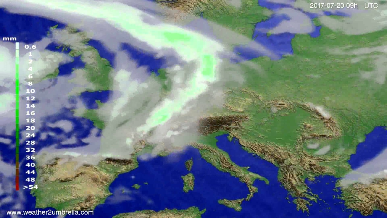 Precipitation forecast Europe 2017-07-16