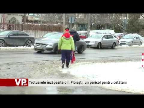 Trotuarele înzăpezite din Ploiești, un pericol pentru cetățeni