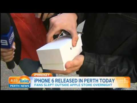 brand new - A dude in Perth being harassed by media has a dropped a brand new iPhone 6 as it was opened for the first time.