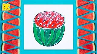 Видео: как нарисовать разрезанный арбуз для детей от 4 лет