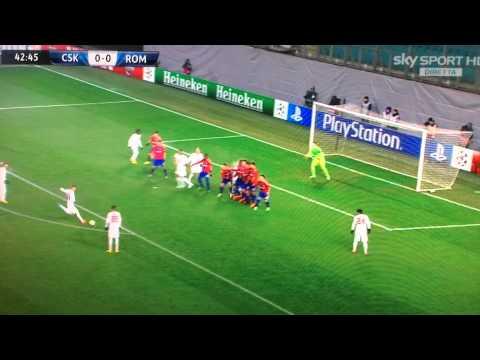 cska mosca- roma 1-1: il gol di francesco totti su punizione