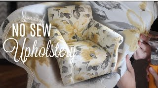 Video HOW TO REUPHOLSTER A CHAIR// NO Sew! // Next Level Lifestyle Series MP3, 3GP, MP4, WEBM, AVI, FLV Januari 2019