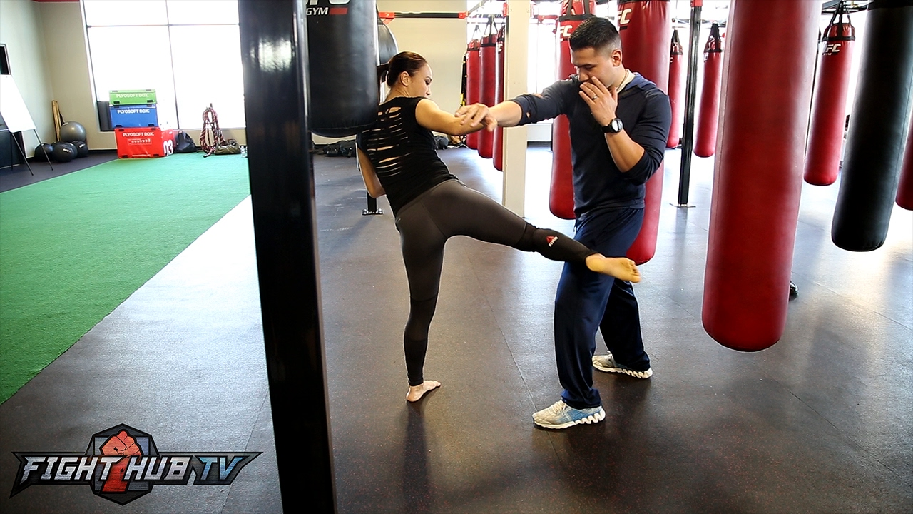 Throw kicks like Michelle Waterson! The Karate Hottie shows off her Karate & Muay Thai techniques