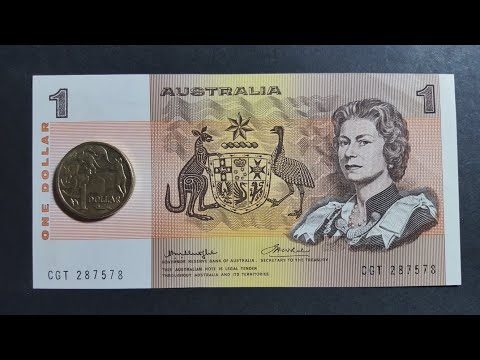Australian $1 coin and banknote