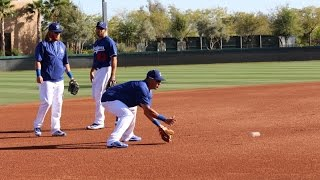 March 25, 2016- Dodger infielders Justin Turner, Alex Guerrero and Rob Segedin work at third base during Spring Training at Camelback Ranch, Glendale, AZ.Alex Guerrero working out at 3B 2015: https://youtu.be/cMpNJTnmmcYAlex Guerrero and Dee Gordon work at 3B side by side: https://youtu.be/x7LjDFT5weARead me at http://dodgersdigest.com/author/stacie-wheeler/  and  http://www.hardballtimes.com/author/s...Follow me @organicallyrude on https://twitter.com/organicallyrude and https://www.instagram.com/organically...Subscribe to DishingUpTheDodgers!Go Blue!
