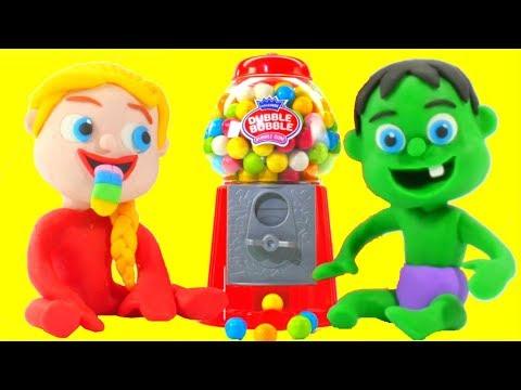 SUPERHERO BABIES & GUMBALL MACHINE  Superhero & Frozen Play Doh Cartoons For Kids