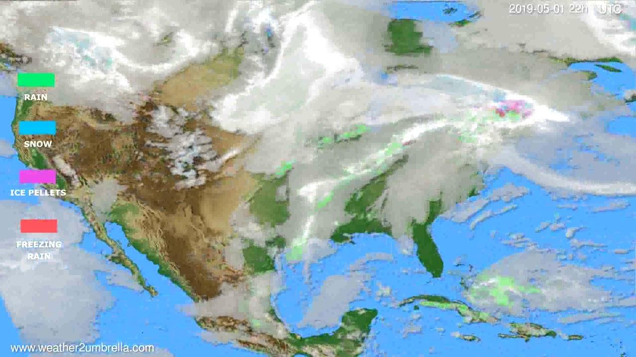 Precipitation forecast USA & Canada // modelrun: 00h UTC 2019-04-29